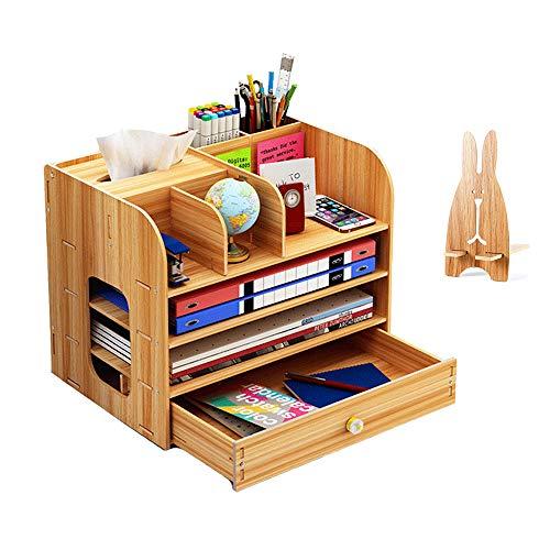 Organizador de escritorio grande de madera con soporte para lápices, cajones de...