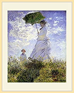 モネ・「散歩、日傘をさす女性」 プリキャンバス複製画・ 額付き(デッサン額/大衣サイズ/木地色)
