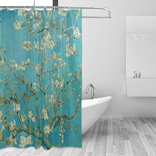 Ahomy Duschvorhang Van Gogh Branches Almond Tree in Blossom Bad Vorhang Wasserdicht Polyester-Mildewproof-, Vorhang für die Dusche 12Haken Sichtschutz Home Badezimmer 182,9x 182,9cm