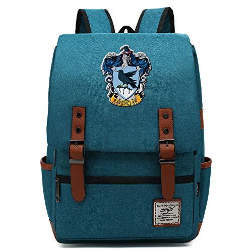 NYLY Ravenclaw College Mochila, Vintage Negro Cremallera Bolsa De la Escuela M Azul Brillante