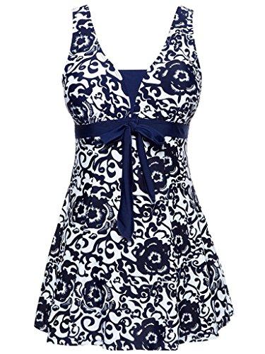 wincolor Mujer Plus Size una pieza floral impreso Swimdress traje de baño