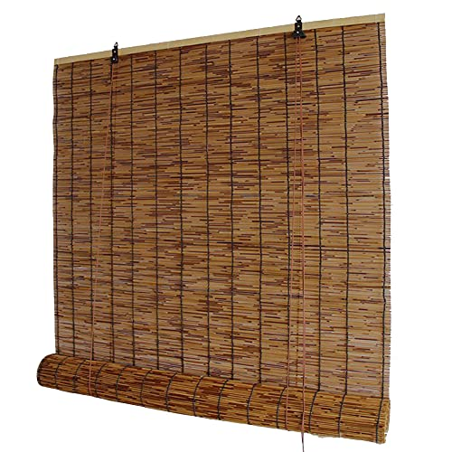 TRGCJGH Reed Roll Up Blinds Bamboo Curtain Outdoor Bamboo Roll Up Shade Decoration Light Filtering Sunshade Waterproof Retro for Outdoor Indoor Garden Patio,Naturalcolor-47 * 98in