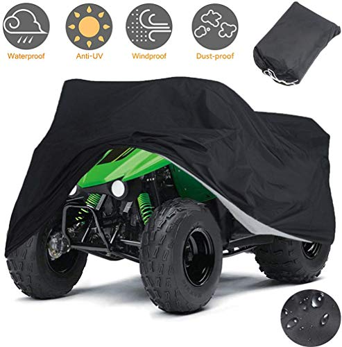 Indeedbuy Waterproof ATV Cover, 420D Heavy Duty Ripstop Material Black Protects 4 Wheeler from Snow Rain or Sun,102'' x44'' x 48''