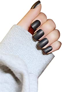JINDIN Black Matte Fake Nails French Manicure Nail Natural False Nails Short Press On Nails Full Cover Design for Women 24 pcs/set
