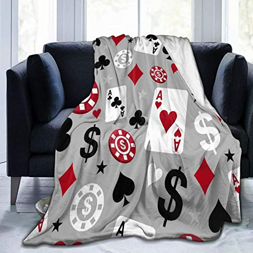 HUAYEXI Flanell Fleece Soft Throw Decke,Poker Casino,für Sofas Sofa Stühle Couch Leicht,warm und gemütlich 127x102cm