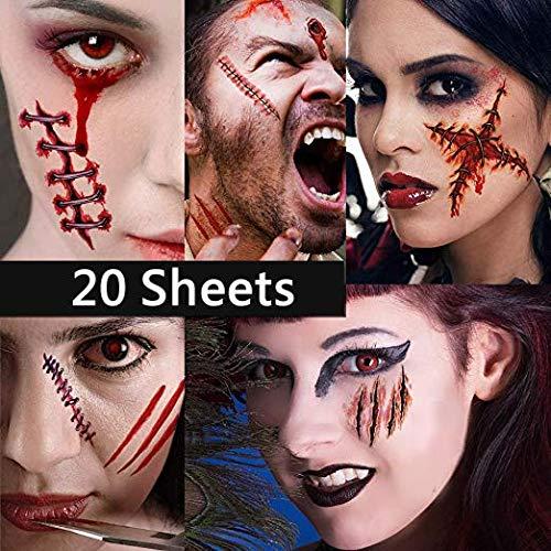 Dream Loom 20Pcs Tatuaggi di Halloween, Tatuaggi feriti Vampire di cicatrici di Zombie, Trucco per Halloween Party Prop e Cosplay Sticker (Tatuaggi Zombi)