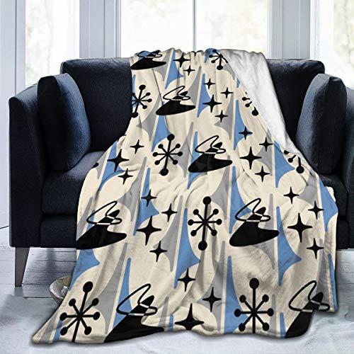 Meiya-Design - Manta de Forro Polar de 127 x 152 cm, diseño Moderno de Boomerang, Color Negro, Azul y Gris