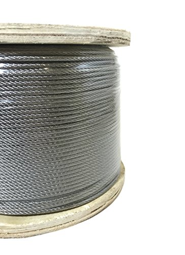 1/8' 7x7 Stainless Steel Cable Type 316 Marine Grade 250ft Reel