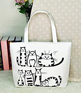 Gimax Top-Handle Bags - Xingkings New Cartoon Cats Printed Canvas Handbag Shopping Tote Shoulder Bag Purse KX-C8011 - (Color: Ivoy)
