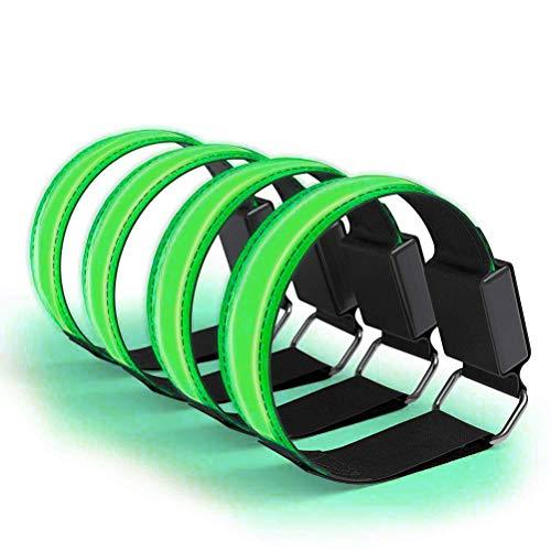 BSTiltion LED Armband Joggen, 4 Stück Leuchtarmband Reflektor Armband Leucht Armbänder Lichtband USB Aufladbar, Leuchtende Armbänder für Laufen Joggen Radfahren Hundewandern Running Sportarten