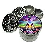 Chakra Art Em14 Titanium Zinc 2.1in Magnetic Metal Herb Grinder 4 Piece Hand Muller Spices & Herb Heavy Duty