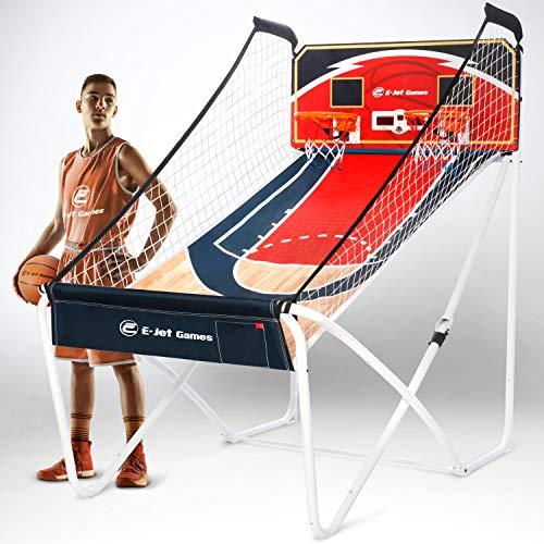 E-JET SPORT Basketball Arcade Games (Online Battle & Challenge, Shoot Hoops) - Electronic Arcade Basketball Games, Dual Shot