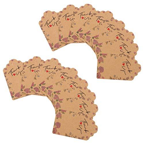 ABOOFAN Danke Hängende Tags Papieranhänger DIY Etiketten für Hochzeit Weihnachten Urlaub Babyparty Begünstigt Geburtstagsfeiern 100Pcs