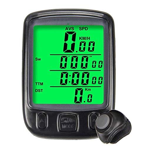 TSWEET Bicycle Computer Multifunction Waterproof LCD Display Bike Speedometer Bicycle Odometer Pedometer Stopwatch Green Backlight for Road Bike Mountain Bike (Color : Black)