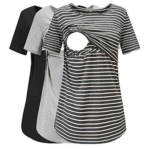 Jezero Women's Short Sleeve Nursing Tops Round Neck Breastfeeding Shirt 3-Pack
