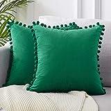 LZTMSZ - Juego de 2 fundas de cojín de terciopelo, 45 x 45 cm, cuadradas, suaves, decorativas, para salón, sofá, dormitorio, coche, 45 x 45 cm, pompones no incluidos (verde oscuro)