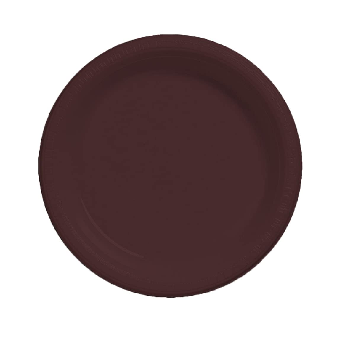 Creative Converting Touch of Color 20 Count Plastic Banquet Plates, Chocolate Brown