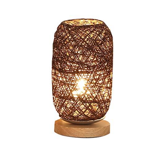 WZHZJ Madera Rattan Twine Ball Lights Lámpara de Mesa Habitación Decoración de Arte para el hogar Luz de Escritorio Sombreado de luz Completa (Color : Brown)