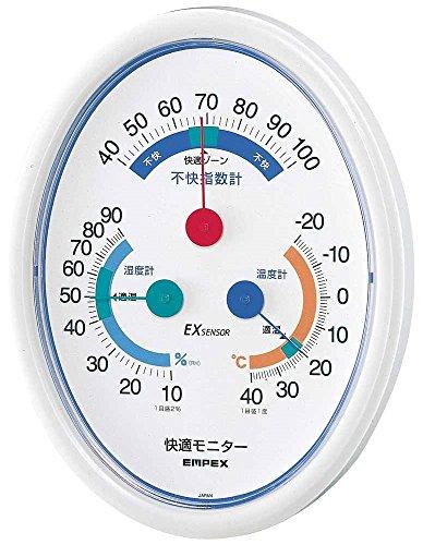 エンペックス気象計 温度湿度計 快適モニター 壁掛け用 日本製 ホワイト CM-6301