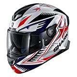 Shark Unisex-Adult Full Face Helmet (White/Blue/Red, S - 55-56 cm - 21.7-22'')