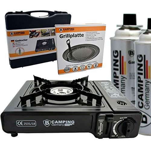 TronicXL Turbo Gaskocher Campingkocher 1-flammig Piezo-Zündung Alu-Brenner + 2X Kartusche Gasflasche Butan + Grill Aufsatz + Koffer Set