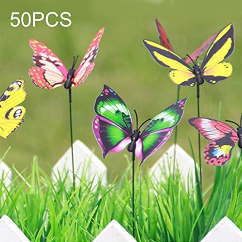 Tongzhengtai Stijlvolle elegante andere tuingereedschap: 50 kleurrijke vlinders, tuindecoratie, bloempotten, plantendecoratie, vlindersticks, tuindecoratie, simulatie vlinders, toef