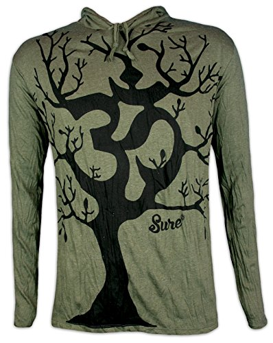 Sure Herren Kapuzen Sweatshirt Om Baum des Lebens Größe M L XL Yoga Hinduismus Party Goa Trance Boho-Chic (Olive Grün XL)