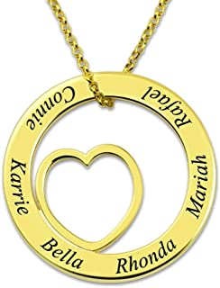 2019 Women's Necklace Custom Letters Necklaces Family Names Engraved Chain Gold Chain Love Heart Pendant Jewelry Collier Ketting