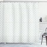 ABAKUHAUS Grün Duschvorhang, Pastell Polka Dots Baby, mit 12 Ringe Set Wasserdicht Stielvoll Modern Farbfest & Schimmel Resistent, 175x200 cm, Mintgrün Weiß