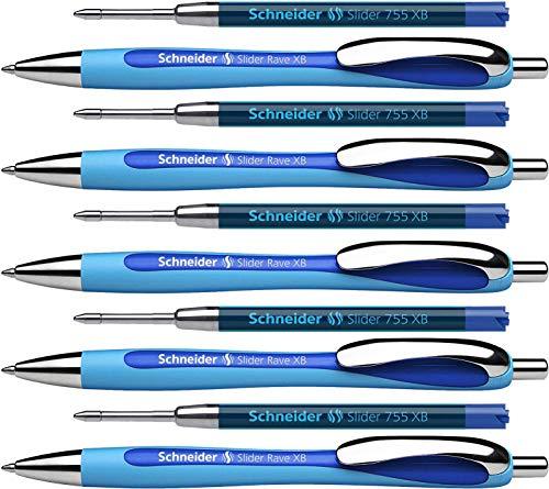 Schneider Slider Rave XB Kugelschreiber (Strichstärke: XB, dokumentenechte Mine, Made in Germany) 5 Stück, Schreibfarbe: blau (blau + Ersatzminen)