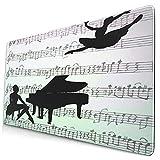Custom Office Mauspad,Power-Ballerinas-Piano-on-Background-Notes-,Anti-Rutsch-Gummiunterseite Gaming-Mauspad-Matte Schreibtisch-Dekor 15,8 'x 29,5'