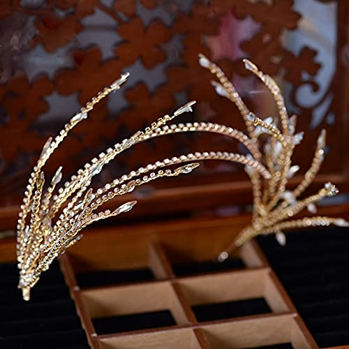 Mountainsea Haarband mit Fransen für Damen, Kopfbedeckung, Haarschmuck Krone, Haarschmuck (Metallfarbe: Gold)