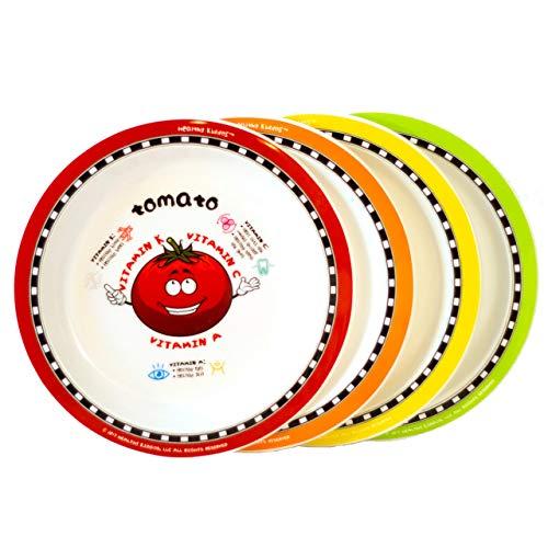 Healthy Kiddos Obst- und Gemüse-Teller für Kinder, 4 Stück, lehrreich, rutschfest, Melamin- und BPA-frei, Ernährungsteller für Kinder, Tomato