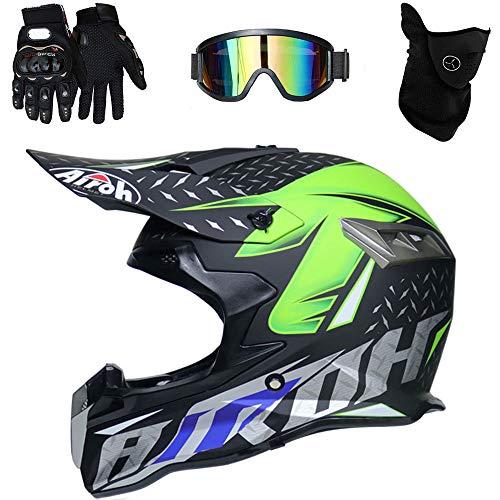 Casco de Motocross Endurance ATV Fibra de Carbono Casco de la certificación D. O. T, Incluyendo Gafas/Guantes/máscara,B,L(59~60cm)