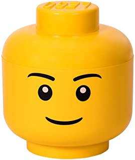 LEGO Storage Head, Large, Boy, 9-1/2 x 9-1/2 x 10-3/4 Inches, Yellow
