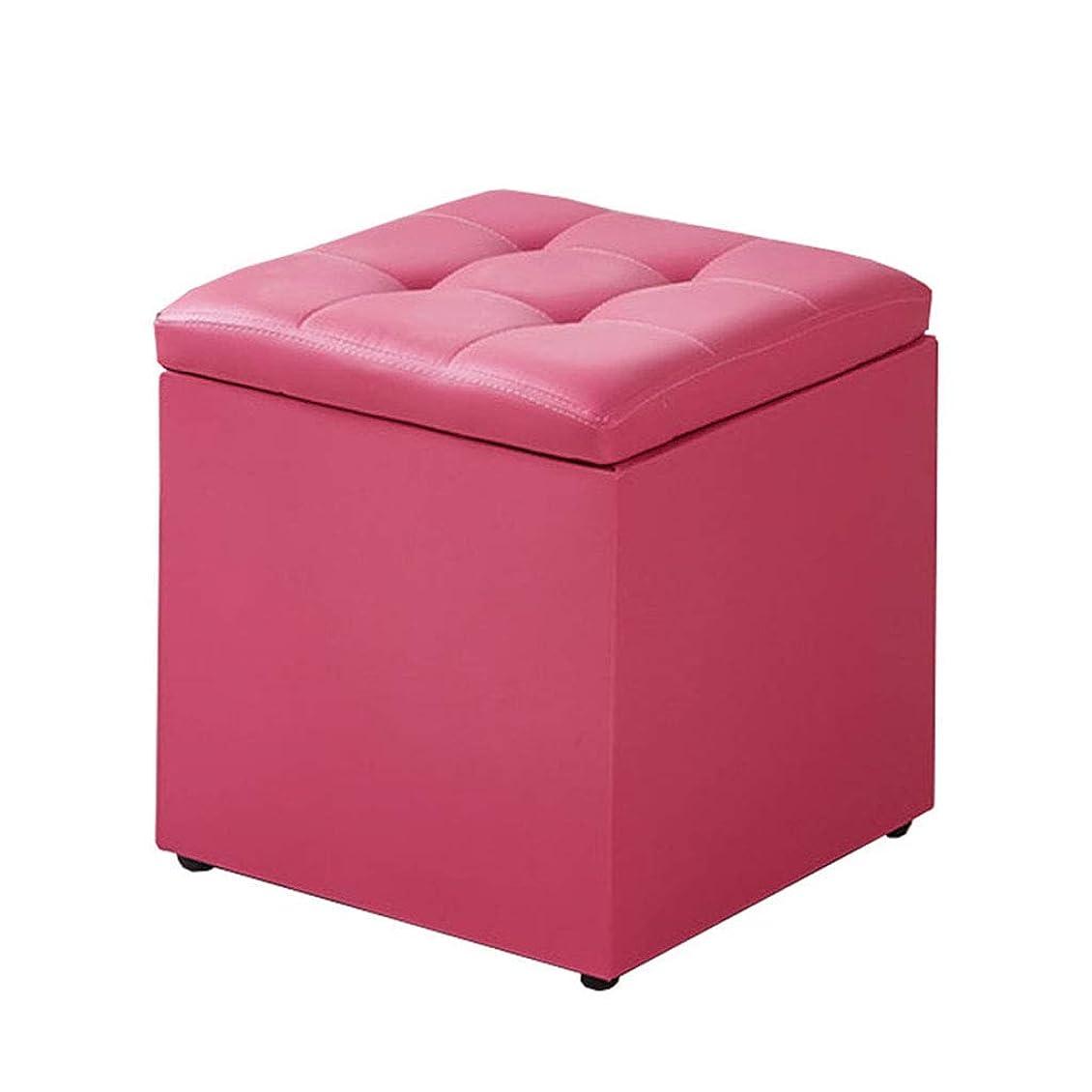 簡単にイタリアの故意にJJD PU収納スツール実用的な布張りフットスツール用リビングルーム寝室シングルオスマン席、フェイクレザー節約スペース (Color : ピンク, サイズ : 33X33X34CM)