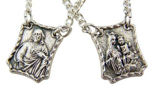Needzo Religious Gifts Medallas escapulares de Plata oxidada, con corazón Sagrado, con Cadena de 30 Pulgadas