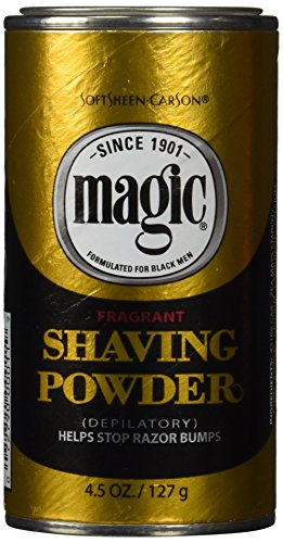 Softsheen-Carson Magic Razorless Shaving for Men, Magic Shaving Powder with Fragrance, Coarse Textured Beards, Formulated for Black Men, Depilatory, Helps Stop Razor Bumps, Since 1901, 4.5 oz