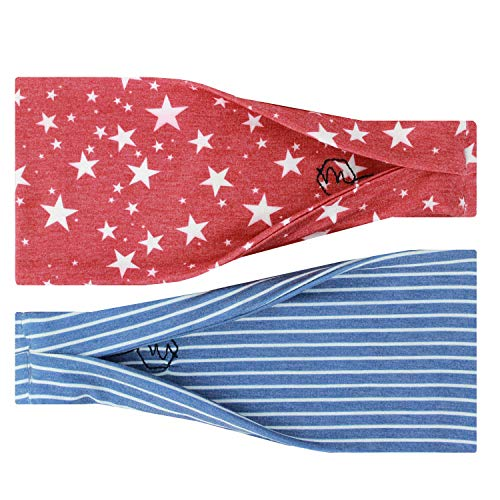 Maven Thread Womens No-Slip, Sweat-Wicking Headband for Exercise and Yoga, 2-Pack, Red Stars and Blue Stripes (Fourth of July)