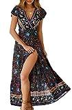 ZESICA Women's Bohemian Floral Printed Wrap V Neck Short Sleeve Split Beach...