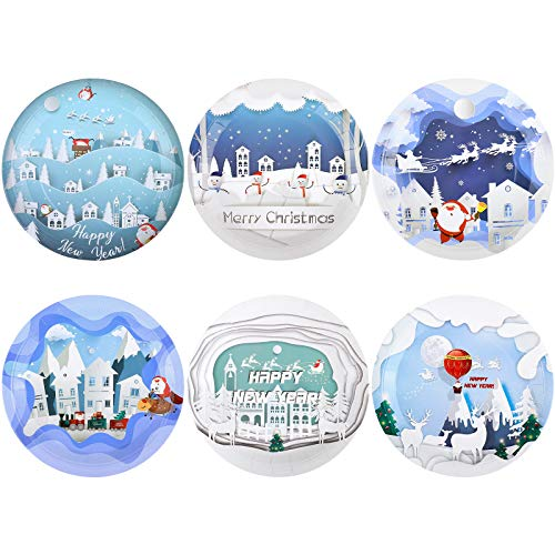Aneco 60 Pieces 9 Inches Christmas Party Plates Winter Party Supplies Party Tableware Disposable Paper Plates in 6 Designs for Christmas Party