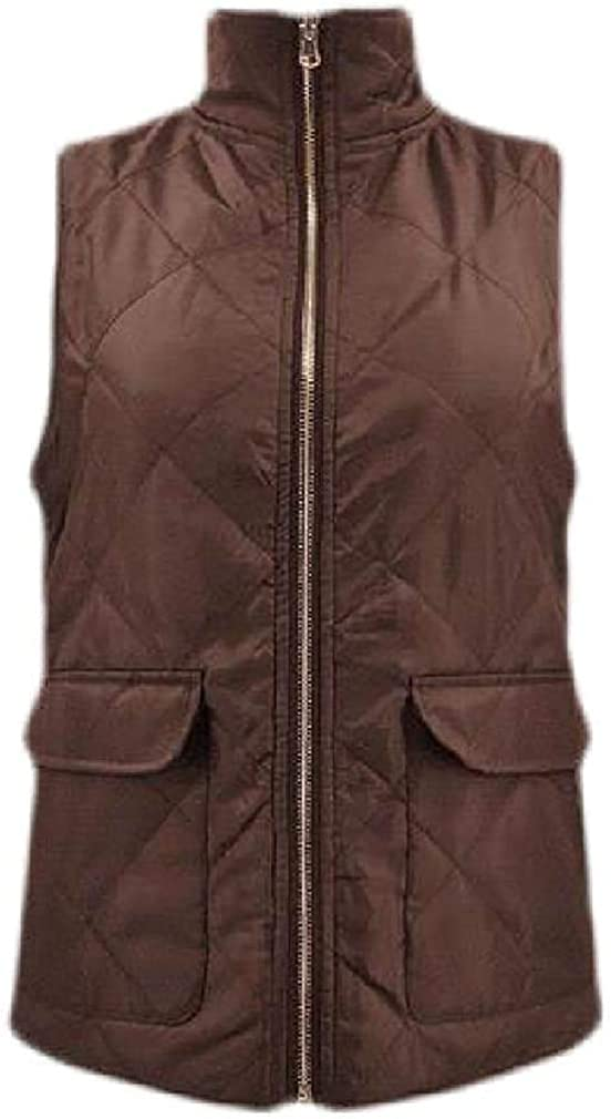 Fllaees Women Fleece Overcoat Sleeveless Reversible Cotton Padded Quilted Zip Up Vest Jackets