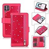 Miagon für Huawei P40 Lite Reißverschluss Brieftasche Hülle,Bling Glitzer Leder Handyhülle 9 Kartenhalter Flip Magnetverschluss Stand Schutzhülle Tasche und Handschlaufe