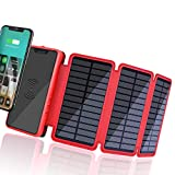 Solar Charger 20000mAh, Wireless Charger Portable Power Bank External Battery Pack with 3 Solar Panels, Emergency Flashlight, IP65 Rainproof,Dual 5V/2.1A USB Port for Smartphones,Tablets and more(Red)