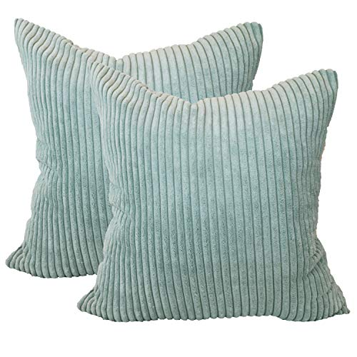 sykting Decorative Pillow Covers Striped Corduroy Plush Textured Throw Pillow Cases for Couch Sofa Bed Chair Pack of 2 20x20 inch 50x50cm Duck Egg