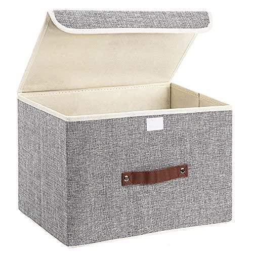 Caja de almacenamiento plegable con asa fuerte, para casa, oficina, habitación de los niños, armario, dormitorio, sala de estar (gris claro)