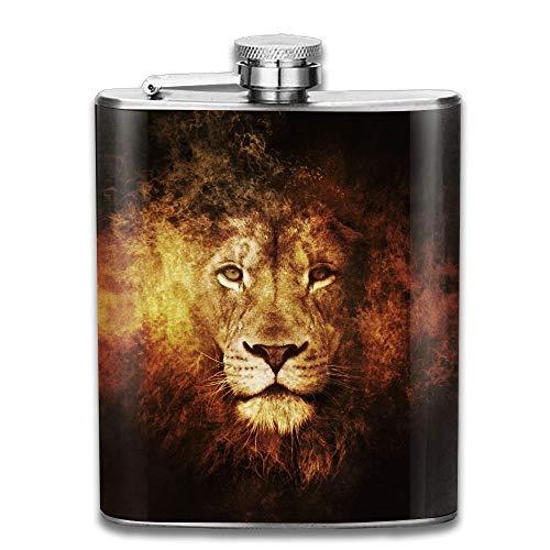 petaca Stainless Steel Hip Flask 7 Oz Fire Lion Head Full Pr