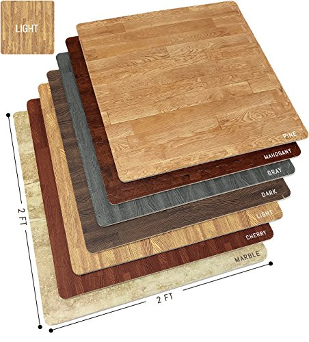 Sorbus Wood Floor Mats Foam Interlocking Wood Mats Each Tile 4 Square Feet 3/8-Inch Thick Puzzle Wood Tiles with Borders – for Home Office Playroom Basement (12 Tiles 48 Sq ft, Wood Grain - Light)
