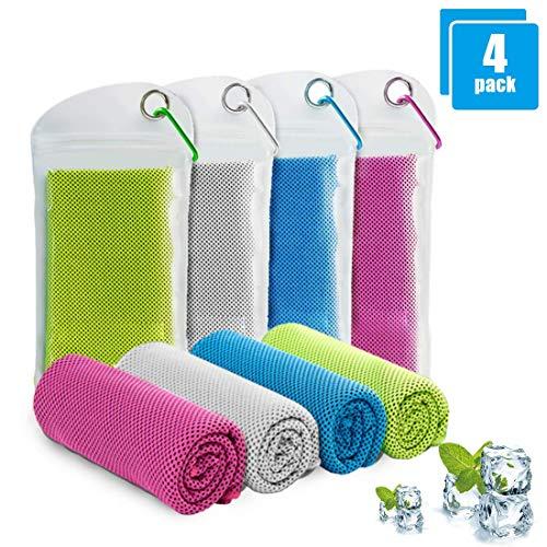 Cooling Towel ,Kühlendes Fitness Handtuch, Selbstkühlendes Handtuch 4 Pcs, Microfaser Handtuch SportFür Heißes Wetter Fitness Yoga Radfahren Golf Camping Spiele, Golf, Laufen, Trekking, Reise, Tennis
