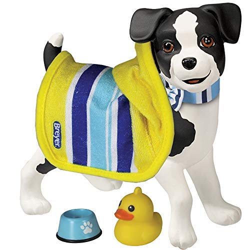 Breyer Horses Color Changing Bath / Water Toy   Sprocket The Puppy   Black / White with Surprise Blue Color   8.5 x 7    Ages 2+   Model #7198